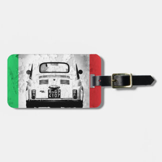 Fiat 500 in Italy, Italian Flag Tag For Luggage