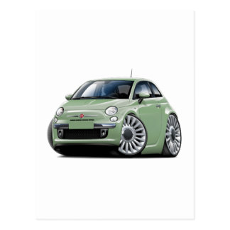 Fiat 500 Lt Green Car Postcard