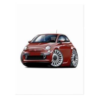 Fiat 500 Maroon Car Postcard