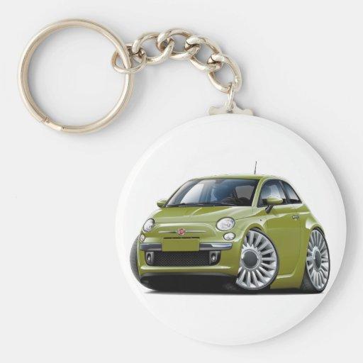 Fiat 500 Olive Car Keychain