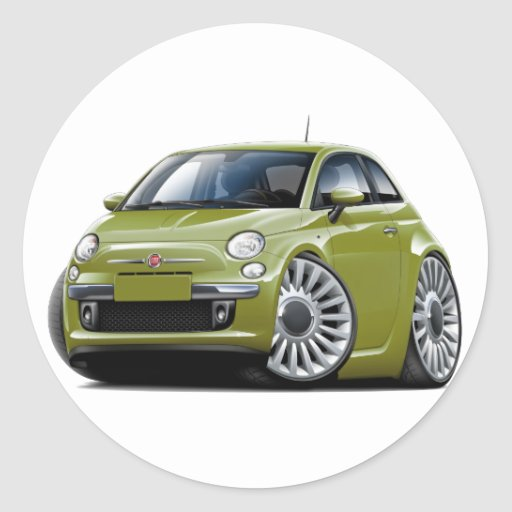 fiat 500 olive car classic round sticker zazzle. Black Bedroom Furniture Sets. Home Design Ideas