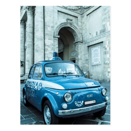 Fiat 500 Police car in Italy Post Card