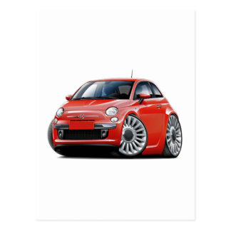 Fiat 500 Red Car Postcard