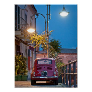 Fiat 500, vintage cinquecento, at night, Italy Poster