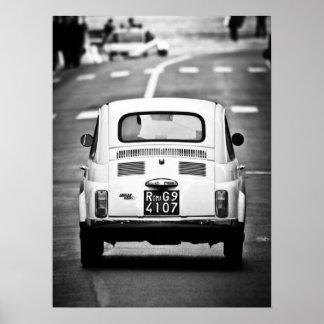Fiat 500, vintage cinquecento, Rome Italy Poster Poster