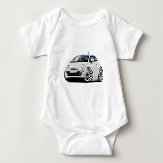 Fiat 500 White Car Baby Bodysuit