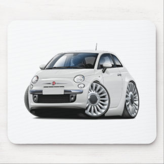 Fiat 500 White Car Mouse Pad