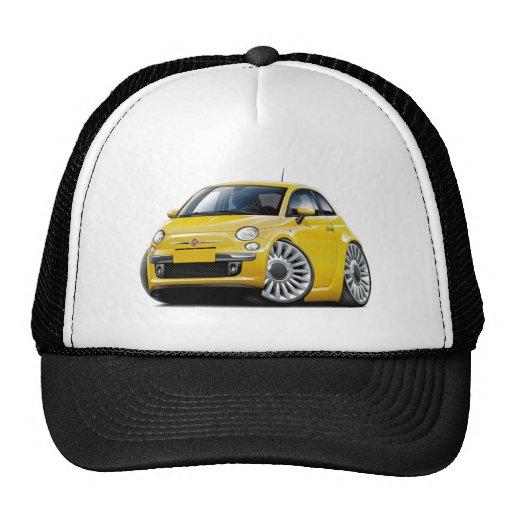 Fiat 500 Yellow Car Trucker Hats