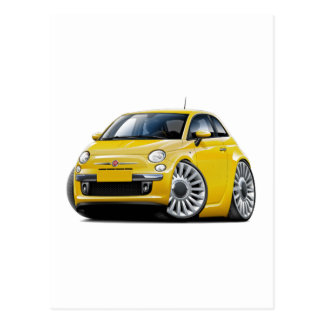 Fiat 500 Yellow Car Postcard