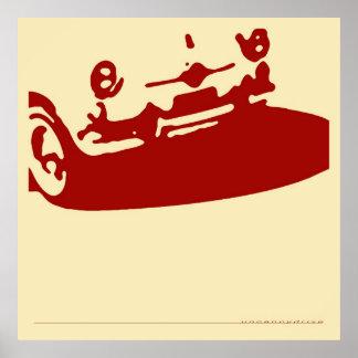Fiat 600 Detail - Dark red on cream Poster