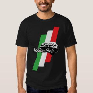 Fiat 600 Multipla script, illustration and flag T Shirt