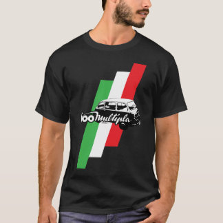Fiat 600 Multipla script, illustration and flag T-Shirt