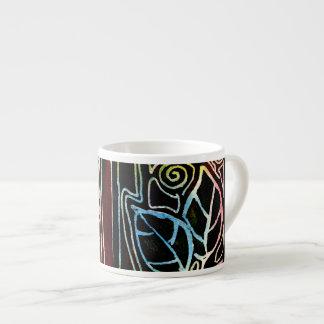 Fiber Art Hand Carved Leaves - Orange Tones 6 Oz Ceramic Espresso Cup