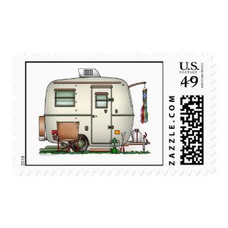 Fiberglass Egg Camper Postage Postage Stamp
