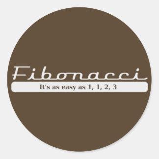 Fibonacci… Es tan fácil como 1, 1, 2, 3 Pegatina Redonda