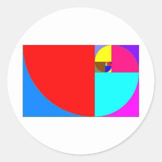 Fibonacci espiral pegatina redonda