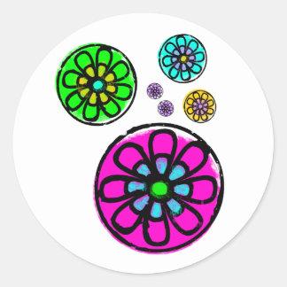 Fibonacci Flower Power Round Stickers