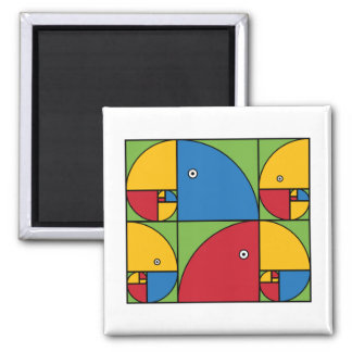 Fibonacci Parrots 2 Inch Square Magnet