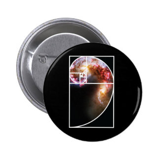Fibonacci Spiral Galaxy Pinback Button