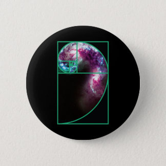 Fibonacci Spiral Galaxy Pinback Button