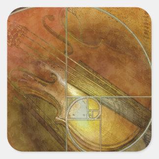 Fibonacci Violin Square Stickers