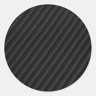 Fibra de carbono acentuada pegatinas redondas