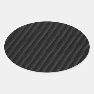Fibra de carbono acentuada pegatina ovalada