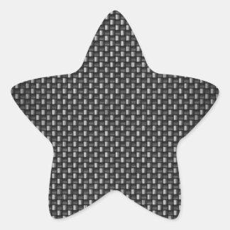Fibra de carbono altamente realista texturizada pegatina forma de estrella personalizada