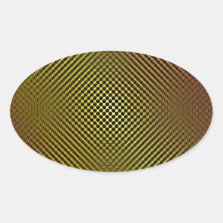 fibra de carbono amarilla vo.1 calcomanía ovalada