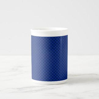Fibra de carbono azul como fondo de la impresión taza de porcelana