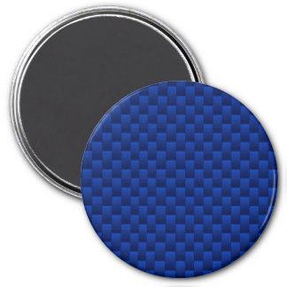 Fibra de carbono azul del acento como fondo de la imán redondo 7 cm