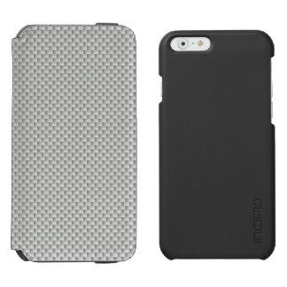 Fibra de carbono blanca y gris de Kevlar Funda Billetera Para iPhone 6 Watson
