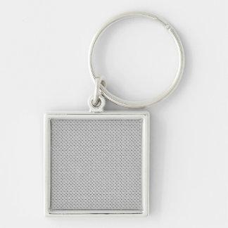 Fibra de carbono de plata blanca (falsa) modelada llavero cuadrado plateado