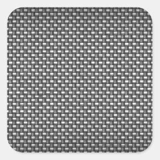 Fibra de carbono detallada texturizada pegatina cuadrada