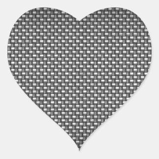 Fibra de carbono detallada texturizada pegatina en forma de corazón
