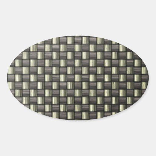 Fibra de carbono (falsa) pegatina ovalada