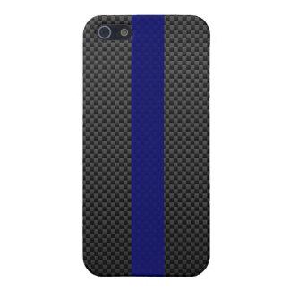 Fibra de carbono fina del personalizado de Blue Li iPhone 5 Carcasas