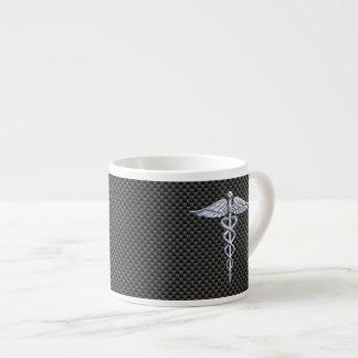 Fibra de carbono médica del negro del símbolo del taza de espresso