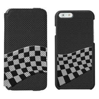 Fibra de carbono que compite con la decoración de funda billetera para iPhone 6 watson
