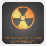 fibra de carbono radiactiva calcomania cuadradas personalizada