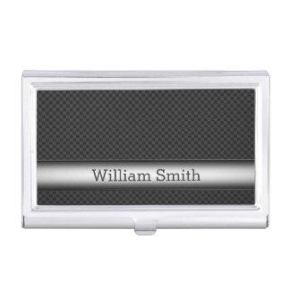 Fibra de carbono rayada de acero cajas de tarjetas de negocios