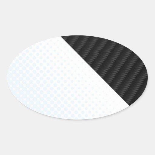 Fibra de carbono real y disposición texturizada to calcomania de óval