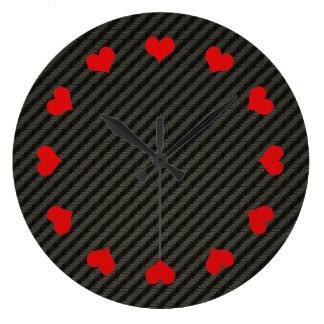 Fibra de carbono reloj redondo grande