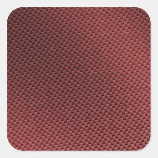 Fibra de carbono roja modelada pegatina cuadrada