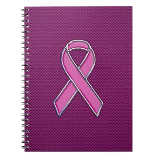 Fibra de carbono rosada del fucsia de la libros de apuntes con espiral