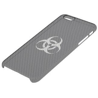 Fibra de carbono tóxica blanca y gris negra funda clear para iPhone 6 plus