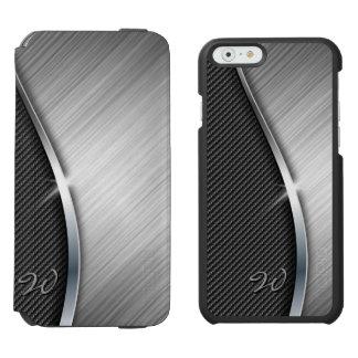 Fibra de carbono y metal cepillado 4 funda billetera para iPhone 6 watson