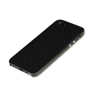 Fibra micro negra del agujerito carcasa de iphone 5 incipio feather shine