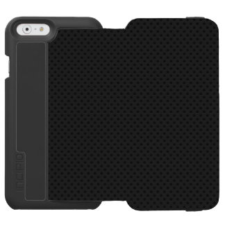Fibra micro negra del agujerito funda billetera para iPhone 6 watson