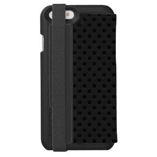 Fibra perforada negra del agujerito funda billetera para iPhone 6 watson